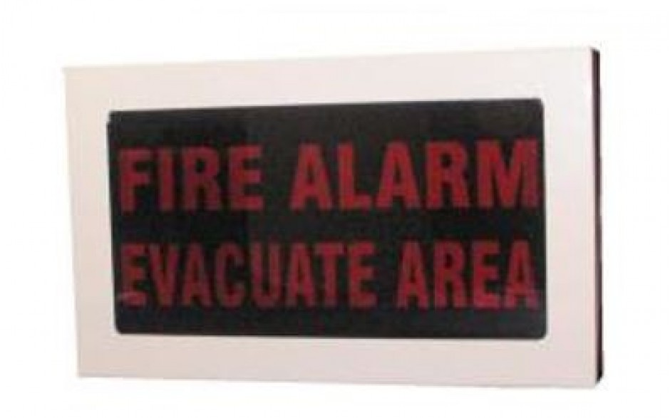 "Faceplate - ""FIRE ALARM - EVACUATE AREA"""